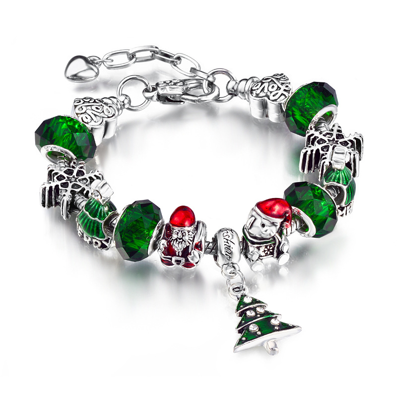 Christmas Gift Women's Xmas Tree Santa Claus Snowflake Big Green Bead Crystal Charm Chain Jewelry Bracelet