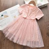 Toddler Girls Pink Rabbit Sequin Stars Short Sleeve Tutu Dress