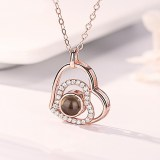 Zircon Diamond Hearts Clavicle Chain Jewelry Necklace