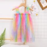 Toddler Girls Rainbow Ruffles Tutu Slip Boho Dress