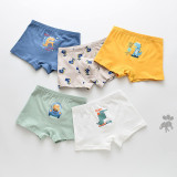 Kid Boys 5 Packs Print Batman Rocket Dinosaur Boxer Briefs Cotton Underwear