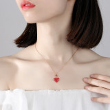 Red Zircon Diamonds Sterling Silver Love Spin Clavicle Pendant Chain Jewelry Necklace