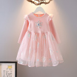 Toddler Girl Embroidered Frozen Snowflakes Tutu Mesh Long Sleeve A-line Dresses