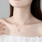 Sterling Silver English Letters Alphabet H Zircon Diamonds Circle Clavicle Pendant Chain Jewelry Necklace