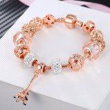 Women's Rose Gold Eiffel Tower Zircon Pink Glass Crystal Charm Chain Jewelry Bracelet