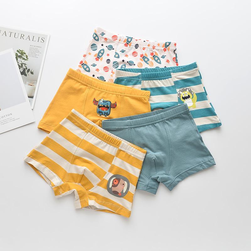Kid Boys 5 Packs Little Monsters Rockets Boxer Briefs Cotton Underwear