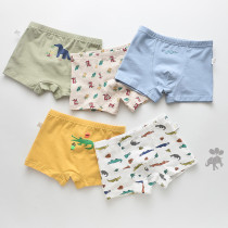 Kid Boys 5 Packs Print Crocodiles Boxer Briefs Cotton Underwear