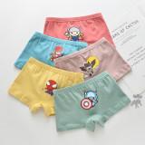 Kid Boys 5 Packs Print Cute Cartoon Marvel Boxer Briefs Cotton Underwear