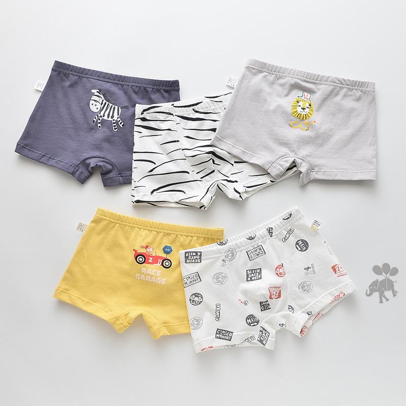 Kid Boys 5 Packs Cute Animals Boxer Briefs Cotton Underwear