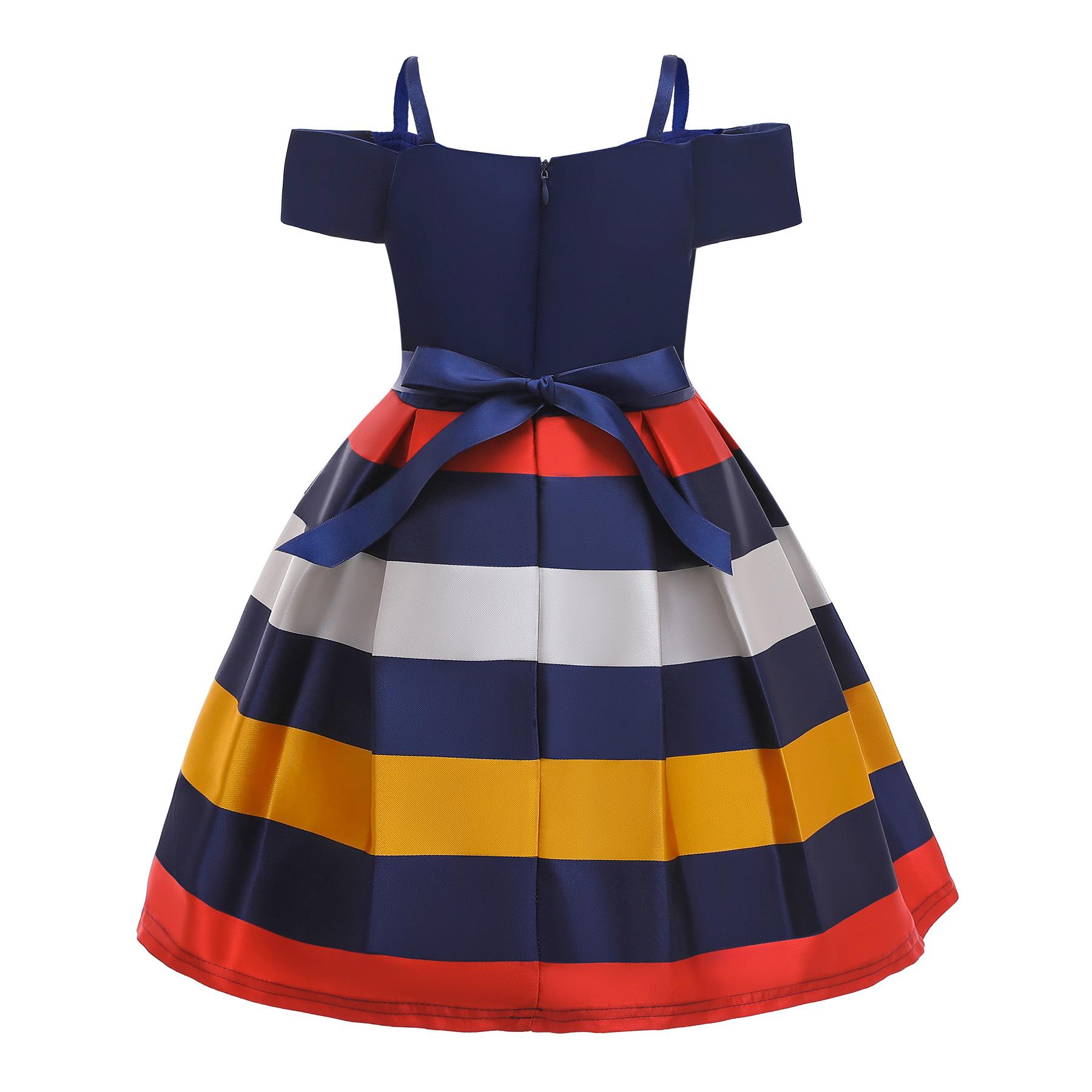 Toddler Girl Off The Shoulder 3 Colors Stripes A-line Gown Dresses