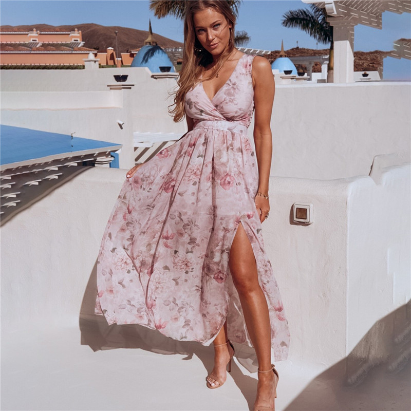 Women Chiffon Print Flowers V-Neck Split Maxi Dress