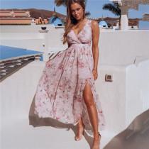 Women Chiffon Print Flowers V-Neck Split Maxi Dress
