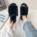 Cozy Soft Plush Fleece Open Toe Ticken Slingback Slides Indoor Outdoor House Winter Warm Slippers
