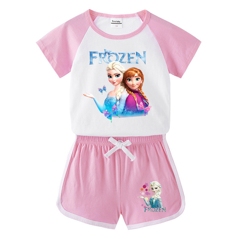 Toddler Kids Girl Frozen Elsa Anna Butterflies Princess Summer Short Pajamas Sleepwear Cotton Set