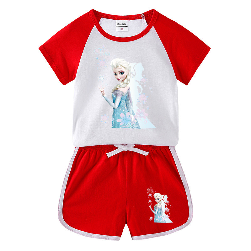 Toddler Kids Girl Frozen Princess Flowers Summer Short Pajamas Sleepwear Set Cotton Pjs