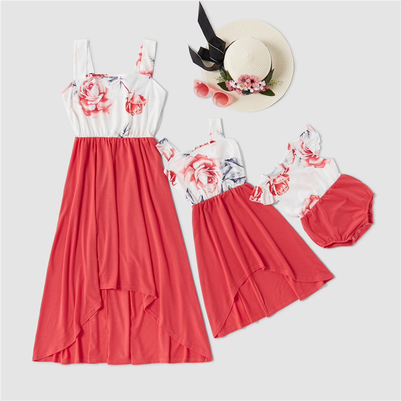 Mommy and Me Matching Printing Red Flowers Splicing Irregular Dress