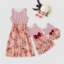 Mommy and Me Matching Red Flowers Stripe Splicing Bowknot Back Sleeveless Dresses