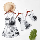 Mommy and Me Matching Grey Tie-dyed Tie up Sling Backless Jumpsuit Romper