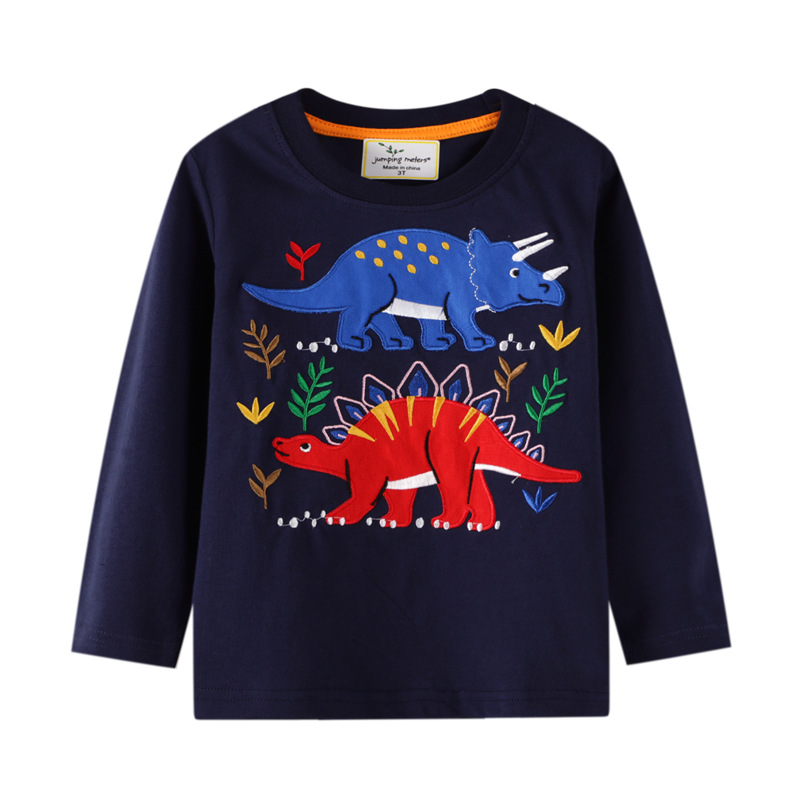 Toddler Boys Dinosaurs Pattern Long Sleeve Cotton Navy Tee