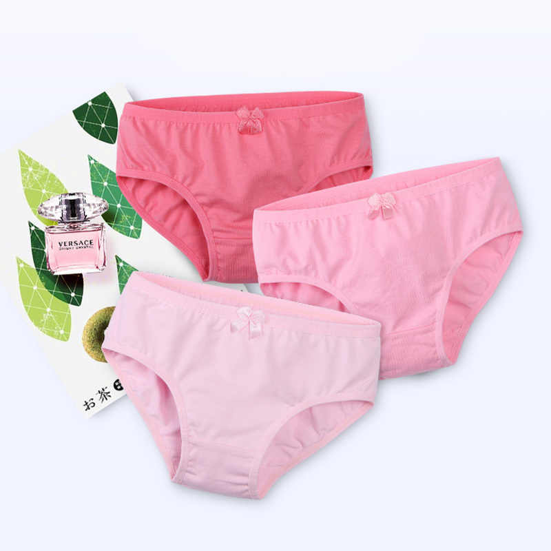 Kid Girls 3 Packs Pink Bowknot Brief Cotton Underwear