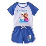 Toddler Kids Girl Frozen Elsa Anna Butterflies Princess Summer Short Pajamas Sleepwear Cotton Set