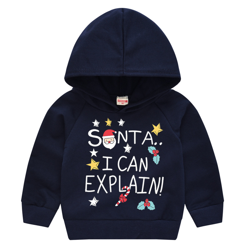 Toddler Kids Merry Christmas Santa Claus Slogan Hooded Sweatshirt