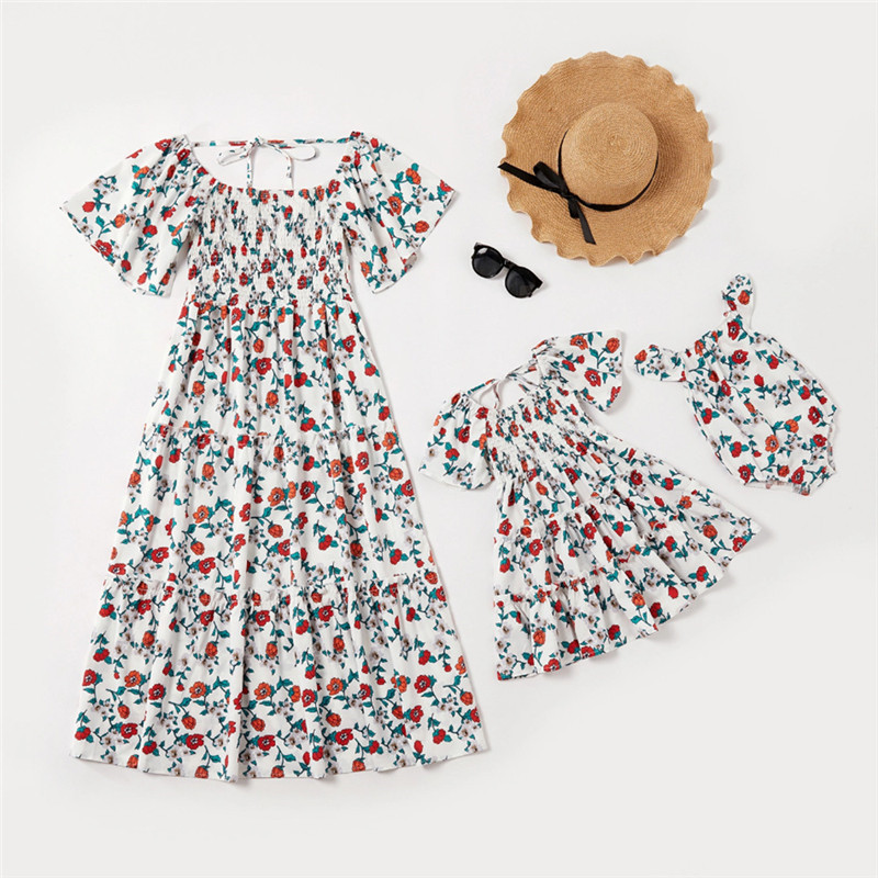 Mommy and Me Printing Ruffles Flowers Maxi White Dresses