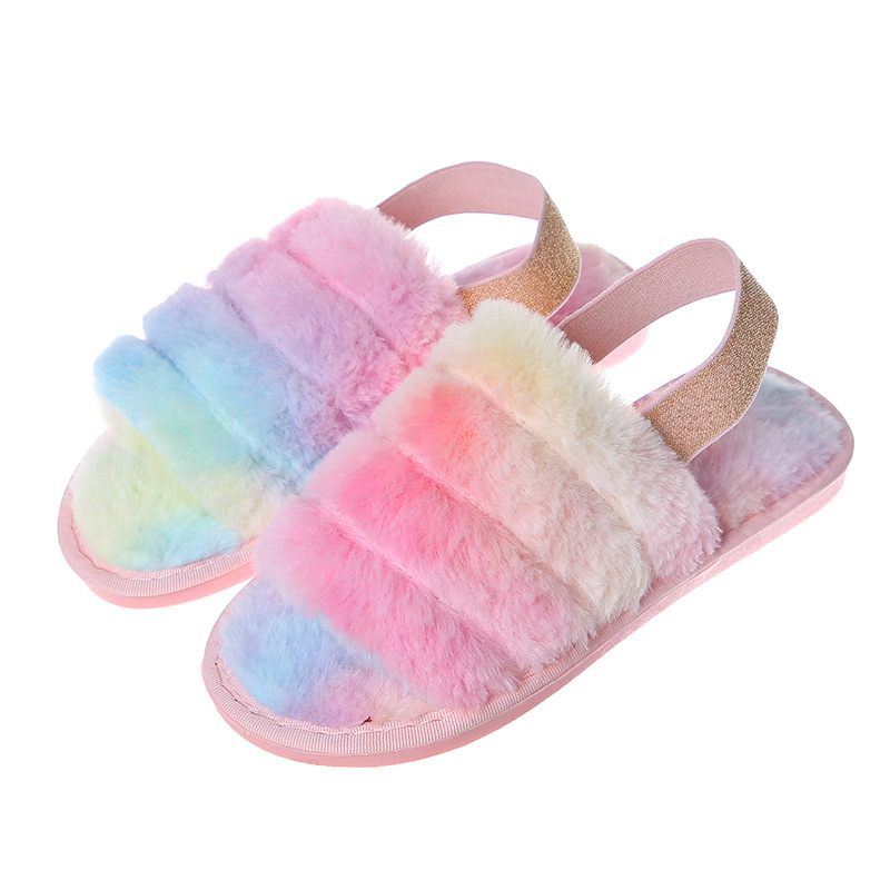 Cozy Soft Rainbow Plush Fleece Open Toe Slingback Slides Indoor Outdoor House Winter Warm Slippers
