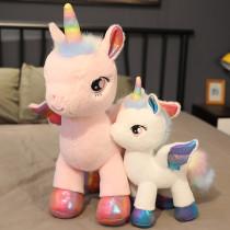 Rainbow Pony Doll Unicorn Angle Wing Stuffed Plush Dolls for Kids Gift