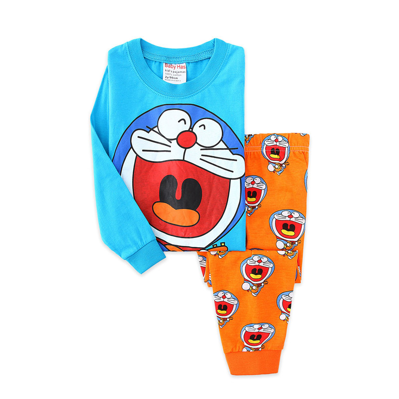 Toddler Boy Print Cartoons Doraemon Pajamas Sleepwear Long Sleeve Tee & Leggings 2 Pieces Sets