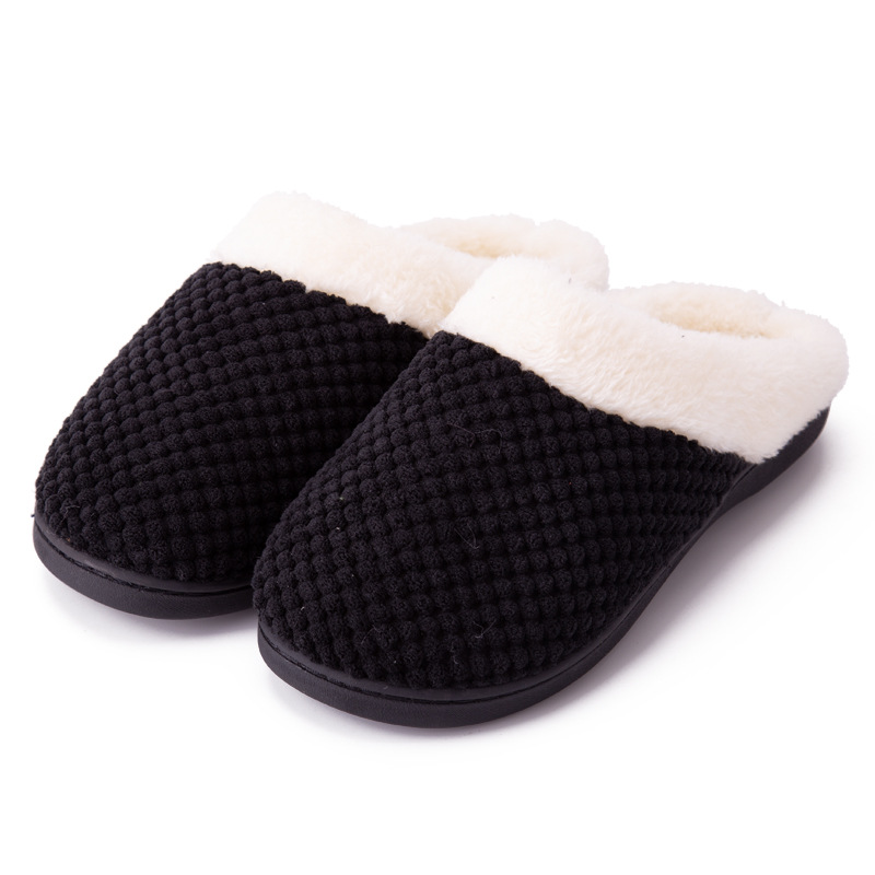 Couples Cozy Soft Plush Fleece Memory Cotton Fluffy Slides Indoor House Winter Warm Slippers