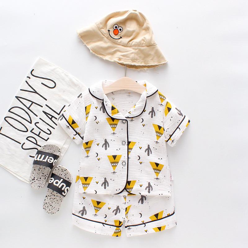 Toddler Kids Boy Prints Cactus Summer Short Pajamas Cotton Sleepwear Set