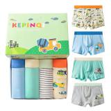 Kid Boy 4 Packs Prints Cars Boxer Briefs Cotton Underwear