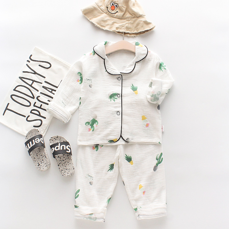 Toddler Kids Girl Prints Cactus Summer Short Pajamas Cotton Sleepwear Set