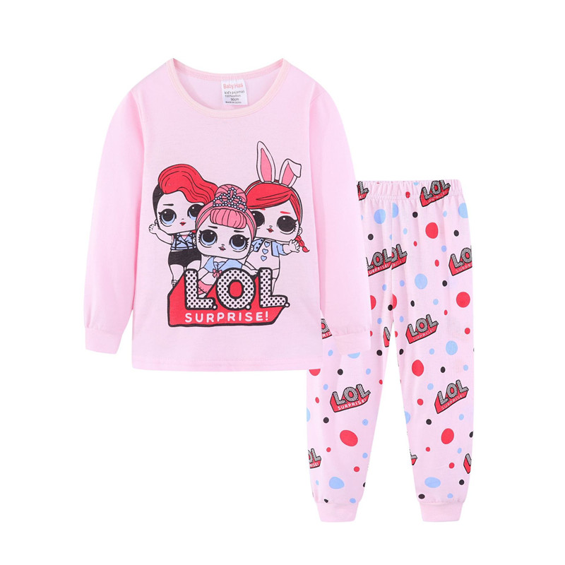 Toddler Girl Pink LOL Surprise doll Pajamas Sleepwear Long Sleeve Tee & Leggings 2 Pieces Sets