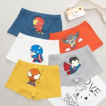 Kid Boys 5 Packs Print Superman Cartoon Boxer Briefs Cotton Underwear