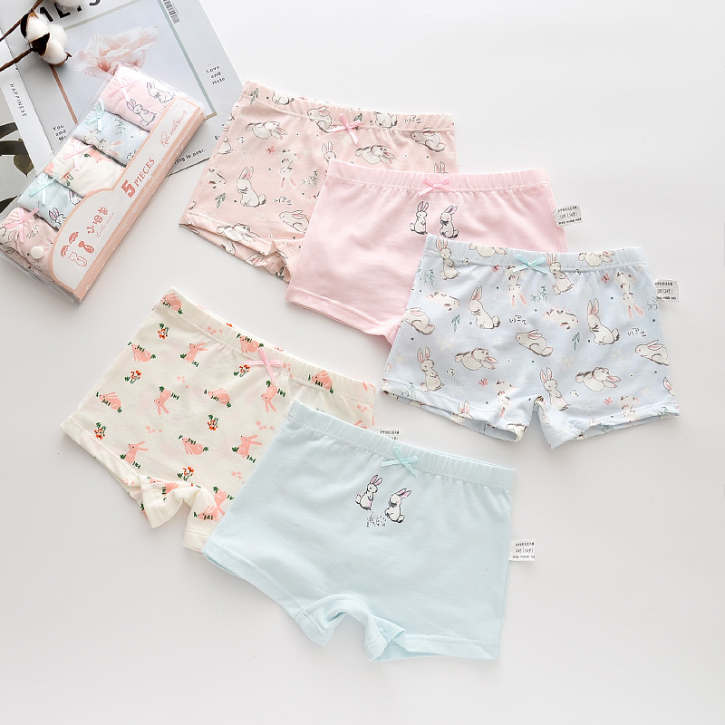 Kid Girls 5 Packs Print Rabbits Boxer Briefs Cotton Underwear