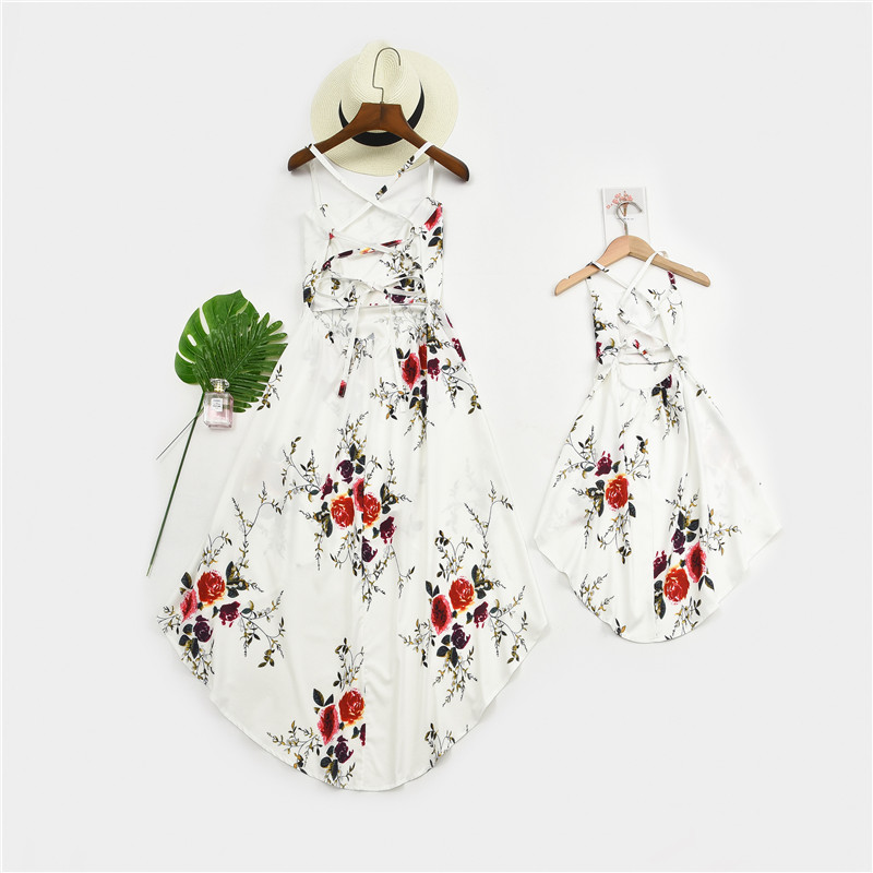 Mommy and Me Prints Flowers Lace Up Backless Swing Irregular Dress