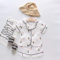 Toddler Kids Girl Prints Carrots Summer Short Pajamas Cotton Sleepwear Set