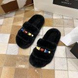 Cozy Soft Plush Fleece Diamond Jewelry Open Toe Slides Indoor Outdoor House Winter Warm Slippers