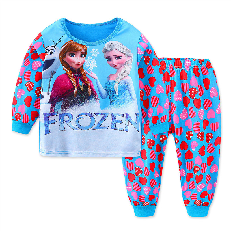 Toddler Girl Print Frozen Alsa and Ana Hearts Pajamas Sleepwear Long Sleeve Tee & Leggings 2 Pieces Sets