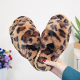 Cozy Soft Plush Fleece Leopard Open Toe Indoor Outdoor House Winter Warm Slippers