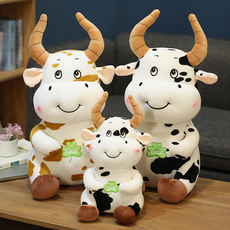 Clover Luck Cute Cow Stuffed Plush Dolls for Kids Gift