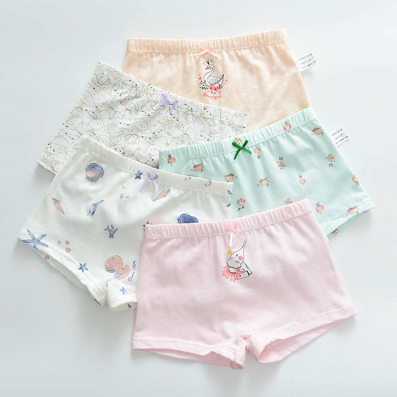 Kid Girls 5 Packs Print Swan Elephant Boxer Briefs Cotton Underwear