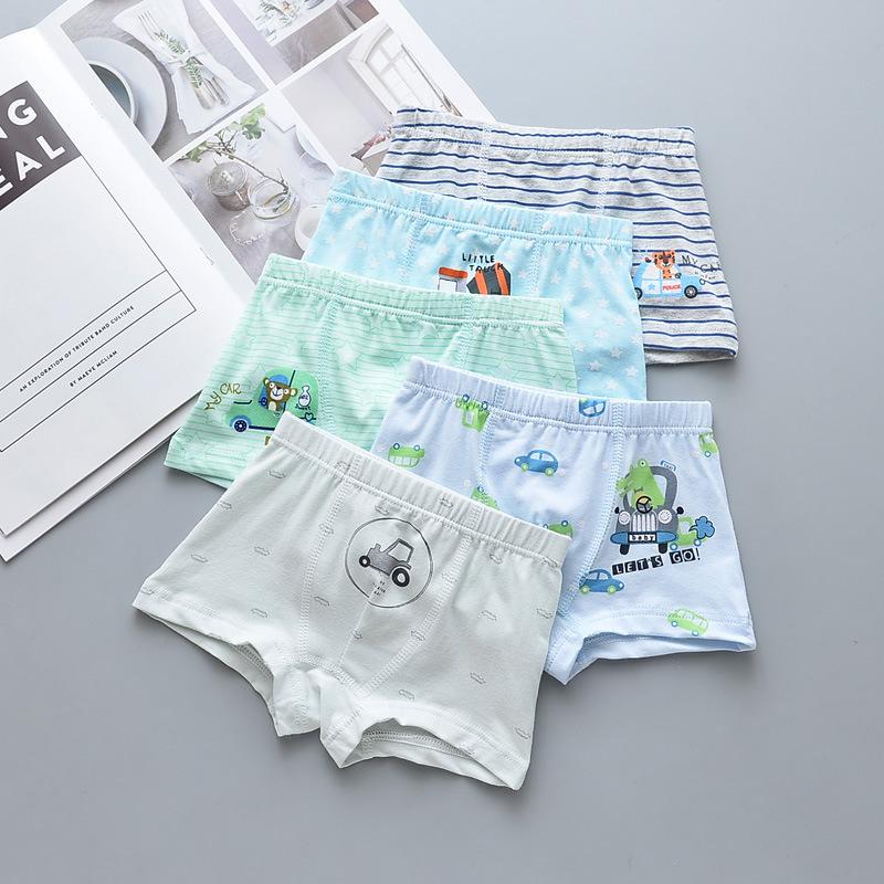 Kid Boys 5 Packs Print Car Stripes Boxer Briefs Cotton Underwear