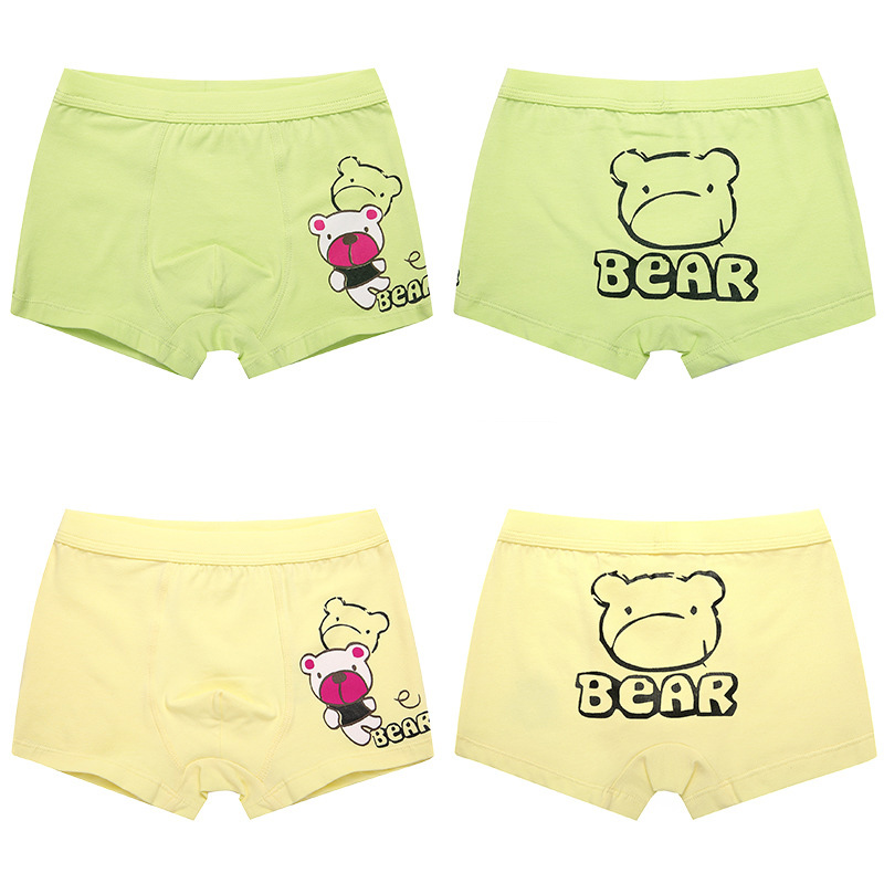 Kid Boys 2 Packs Print Bear Boxer Briefs Cotton Bule And Gray Underwear