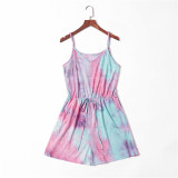 Mommy and Me Matching Purple Tie-dyed Tie Up Sling Jumpsuit Romper