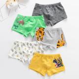 Kid Boys 5 Packs Print Animal Cartoon Boxer Briefs Tiger And Dinosaur Cotton Underwear