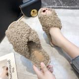 Cozy Soft Plush Big Curls Fleece Cross Open Toe Slides Indoor Outdoor House Winter Warm Slippers