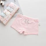 Kid Girls 5 Packs Print Rabbits Boxer Briefs Cotton Underwear